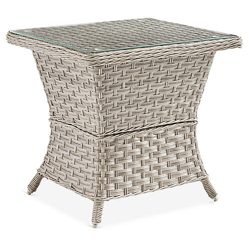 Mayfair Glass Side Table, Gray