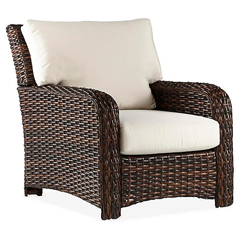 St. Tropez Wicker Club Chair, Espresso/Canvas