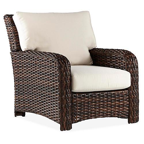 St. Tropez Wicker Club Chair, Espresso/Canvas