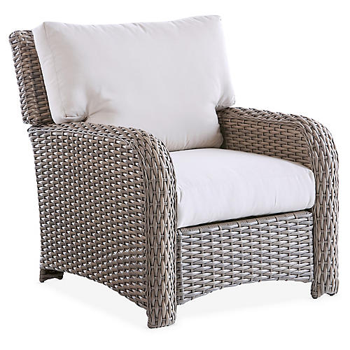 St. Tropez Wicker Club Chair, Gray/Canvas