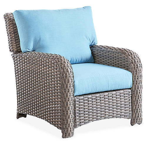 St. Tropez Wicker Club Chair, Gray/Blue