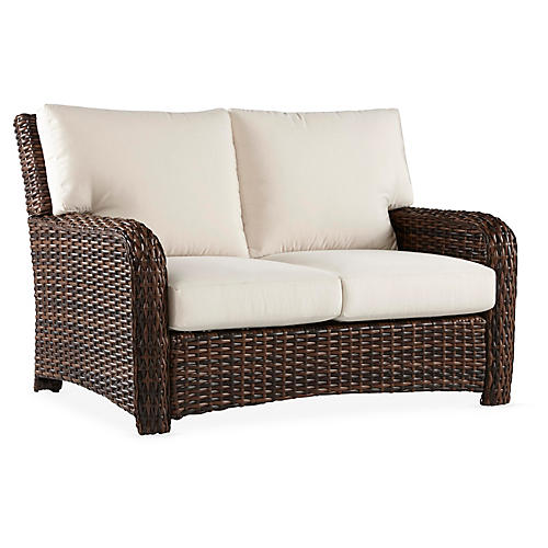 St. Tropez Wicker Loveseat, Espresso/Canvas