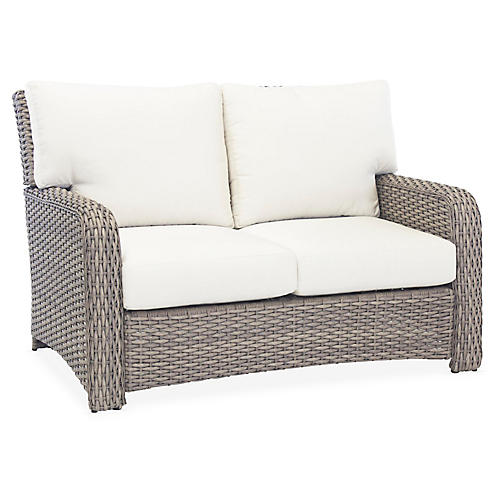 St. Tropez Wicker Loveseat, Gray/Canvas