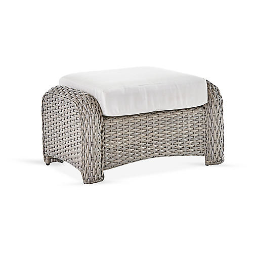 St. Tropez Wicker Ottoman, Gray/Canvas