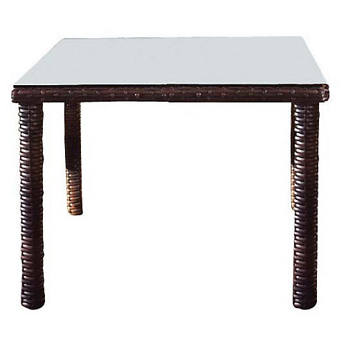 St. Tropez Wicker Square Dining Table, Espresso
