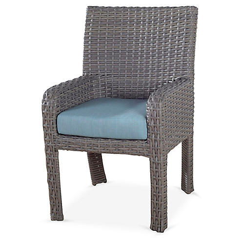 St. Tropez Wicker Dining Armchair, Gray/Blue