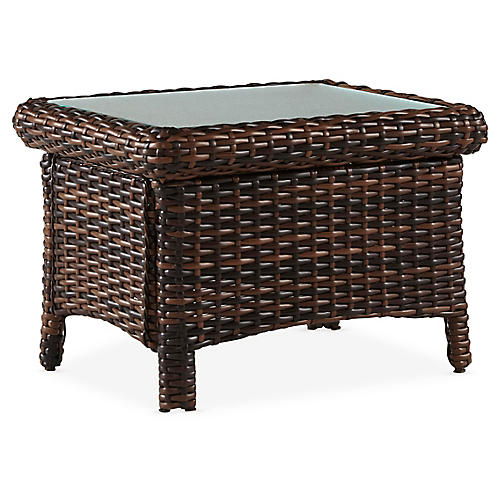 St. Tropez Wicker Side Table, Espresso