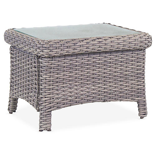 St. Tropez Wicker Side Table, Gray