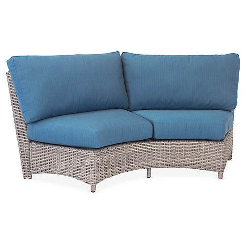 St. Tropez Wicker Curved Loveseat, Gray/Blue