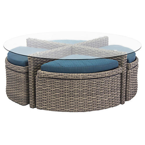St. Tropez Table and Nesting Ottomans, Gray/Blue