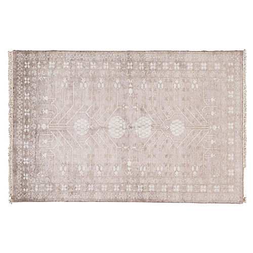"""4'x6'1"""" Oushak Hand-Knotted Rug, Lavender"""