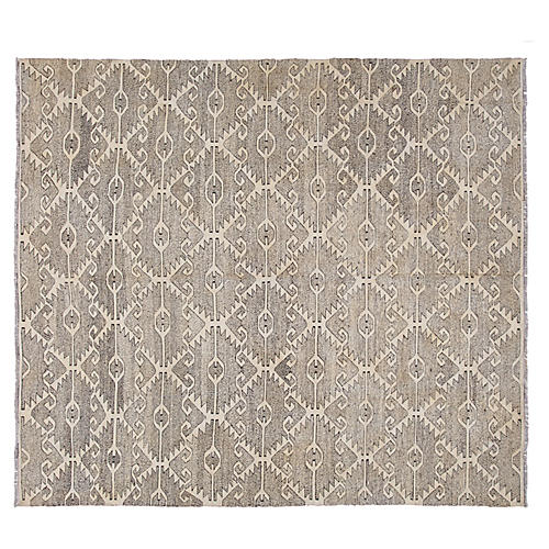 "8'1""x9'6"" Geometric Hand-Knotted Kilim, Gray"