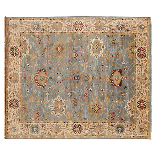 """8'1""""x10'10"""" Mahal Hand-Knotted Rug, Light Blue"""