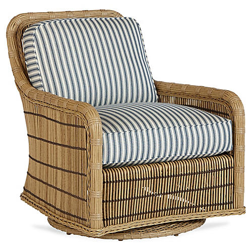 Rafter Swivel Glider, Denim Blue/White Sunbrella