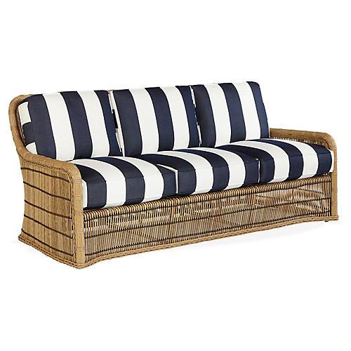 Rafter Sofa, Navy/White Sunbrella