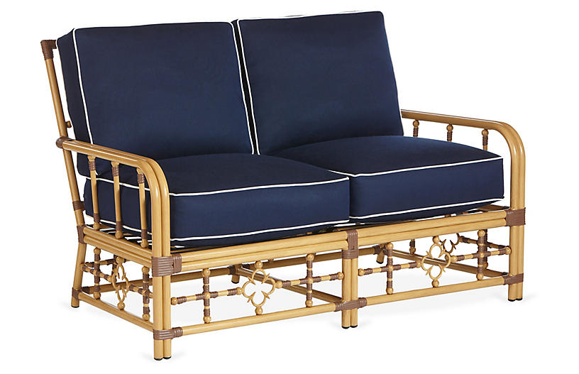Mimi Loveseat, Navy/White Sunbrella