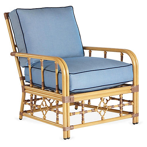 Mimi Lounge Chair, Blue/Navy Sunbrella