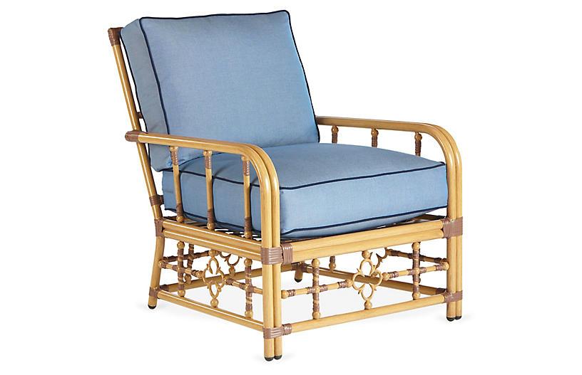 Mimi Lounge Chair, Blue/Navy Sunbrella