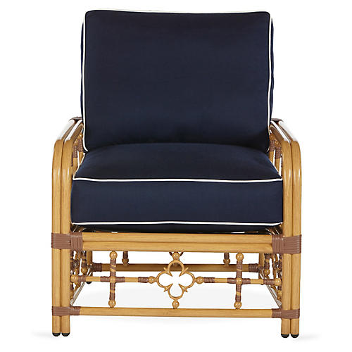 Mimi Lounge Chair, Navy/White Sunbrella