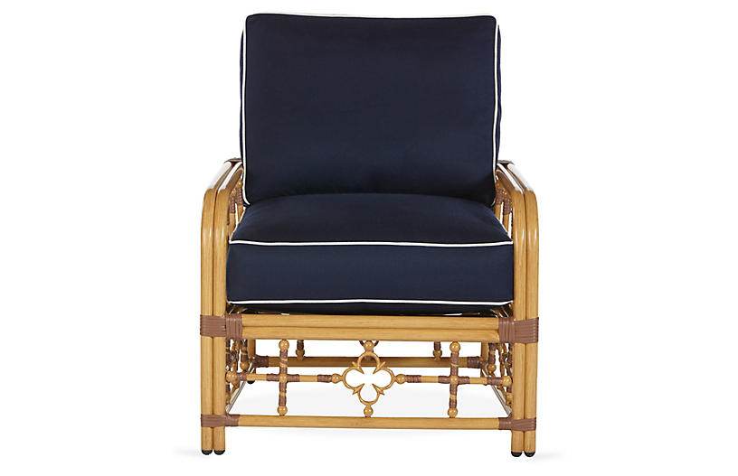 Mimi Lounge Chair, Navy/White Sunbrella