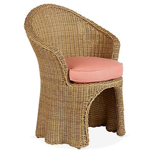 Crespi Armchair, Coral Sunbrella