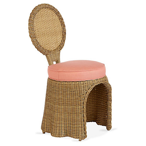 Crespi Side Chair, Coral Sunbrella