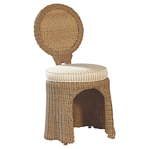 Crespi Side Chair, Canvas/Taupe Sunbrella