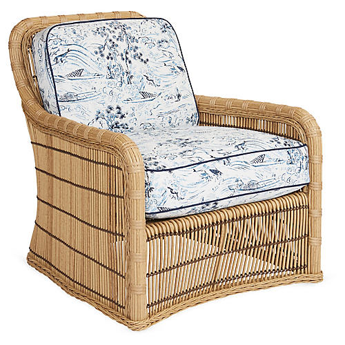 Rafter Lounge Chair, Blue/White Sunbrella