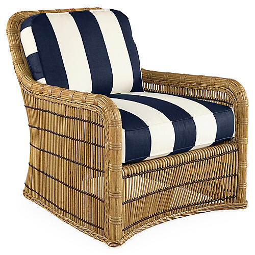 Rafter Lounge Chair, Navy Stripe Sunbrella