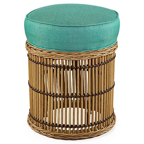 Rafter Round Ottoman, Turquoise Sunbrella
