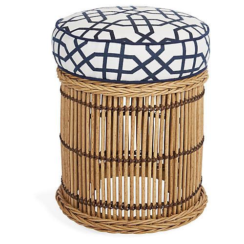 Rafter Ottoman, Blue/Navy Sunbrella