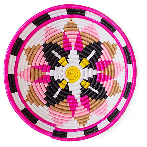 "12"" Tema Plateau Basket, Hot Pink/Multi"