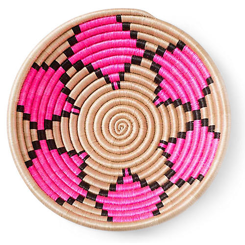"12"" Petal Plateau Basket, Hot Pink/Tea"