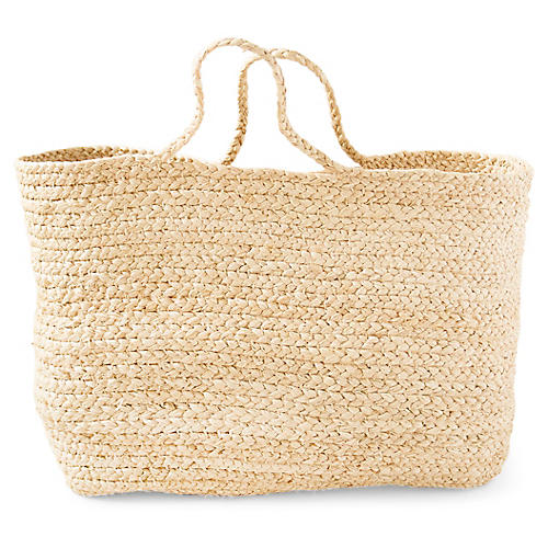 "18"" Braided Basket Bag, Natural"