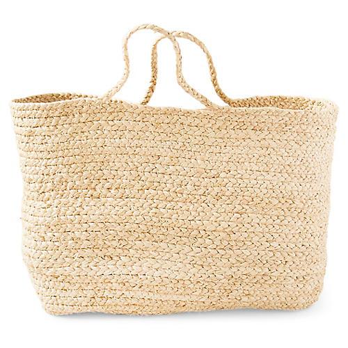 "18"" Braided Basket Bag, Natural"