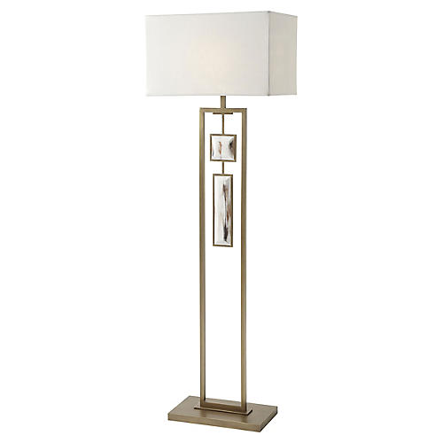 Sway III Floor Lamp, Brass/White