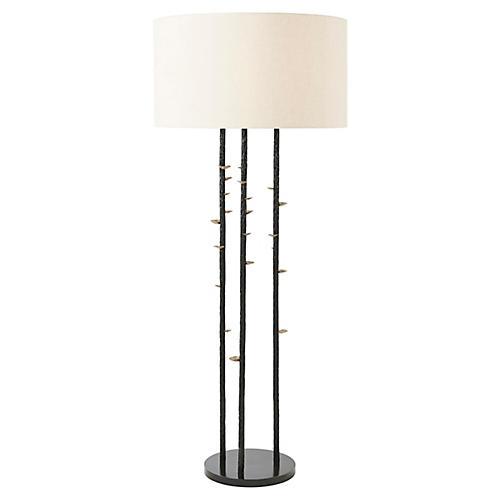 Vale Floor Lamp, Antiqued Brass