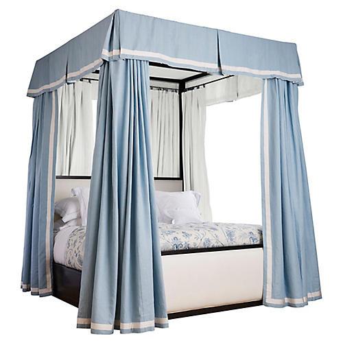 Carolyn Valance & Canopy Panels, Aqua Blue Linen