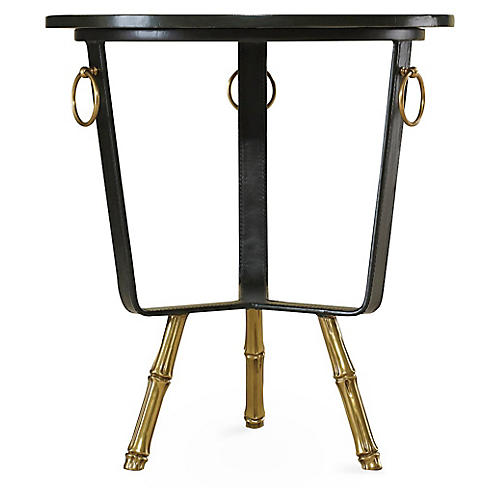 Barrell Lamp Table, Black/Gold