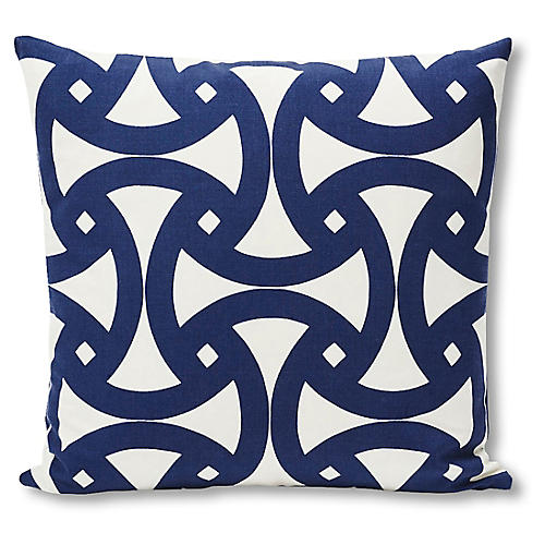 Santorini 18x18 Outdoor Pillow, Marine/White