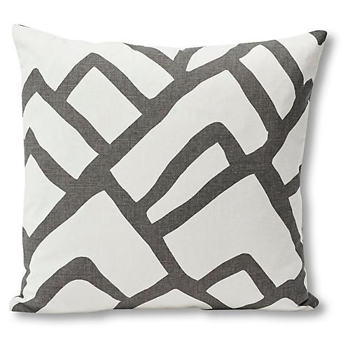 Zimba 18x18 Pillow, Charcoal/Ivory