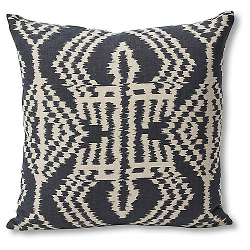 Asaka 18x18 Pillow, Charcoal/Tan Linen