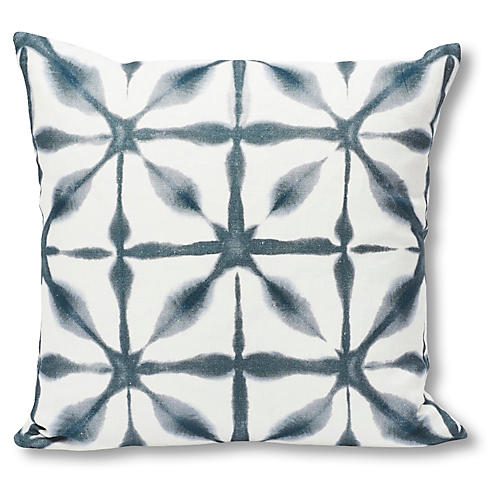 Andromeda Pillow, Indigo/White Linen