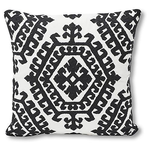 Omar 18x18 Pillow, Black/White