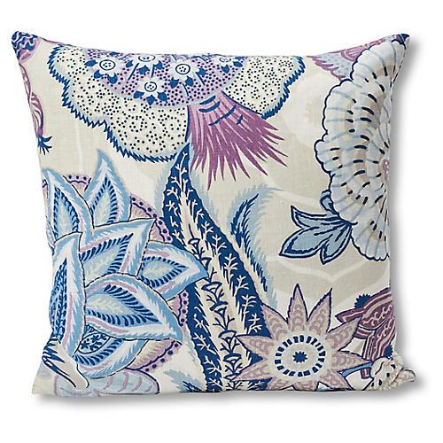 Zanzibar Pillow, Purple/Blue Paisley Linen