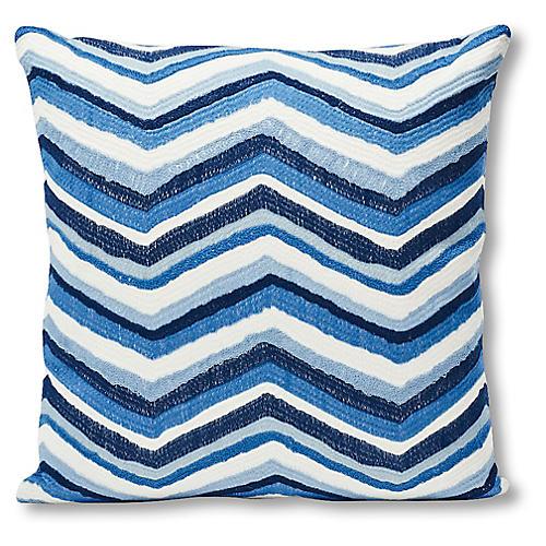 Shasta 18x18 Pillow, Blue/White