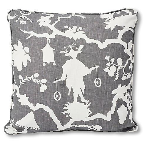 Shantung 18x18 Pillow, Smoke Linen