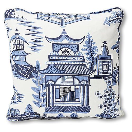 Nanjing 18x18 Pillow, Blue/White Linen