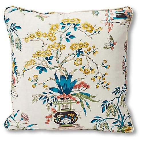 Ming Vase 18x18 Pillow, Ivory Linen