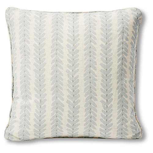 Woodperry 18x18 Pillow, Ivory/Sky Blue Linen